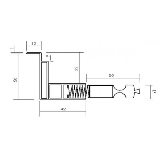 Plisséhor PLISSÉ17 in inzet klemhor 50mm - enkele uitvoering Plisséhorren